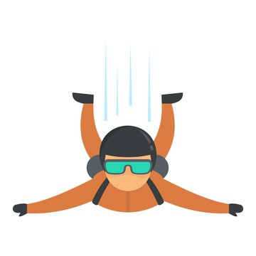 Skydiver flying icon. Flat illustration of skydiver flying vector icon for web design