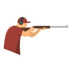 Shooter in baseball cap icon. Flat illustration of shooter in baseball cap vector icon for web design