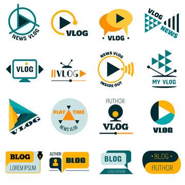 Vlog logo set. Flat set of vlog vector logo for web design