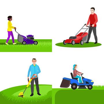 Garden lawnmower banner set. Flat illustration of garden lawnmower vector banner set for web design