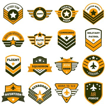 Airforce logo set. Flat set of airforce vector logo for web design