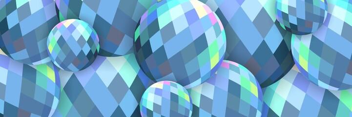 Cold blue crystal balls 3d banner web.
