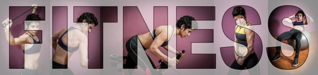 Collage of a strong woman exercising in a gym. Letters FITNESS over the collage.   Wall mural