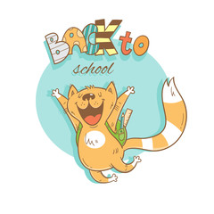 Back to school vector card. Cute cartoon cat schoolboy with backpack. Contour colorful image.