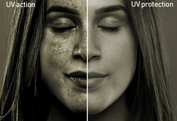 A split screen showing the results of sun rays on the soft face of a girl in her early twenties. After effects of skin with and without UV protection. Fotoväggar