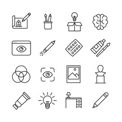 Simple set of design icons in trendy line style.