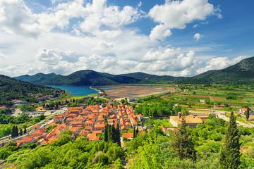 Wall Mural - aerial view of Ston town. Croatia.