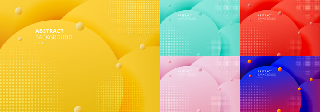 Set of abstract 3D liquid fluid circles yellow mustard, green mint, red, blue color beautiful background with halftone texture.