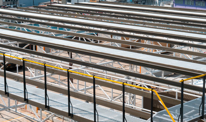 industry steel rooftop walkway grid structure for solar PV module roof installation, industrial energy safety system management background