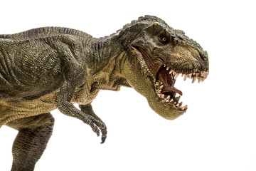 An extreme closeup view of an ominous T-Rex dinosaur figurine isolated against a clean white background. Monstrous animal with sharp teeth. Fototapete