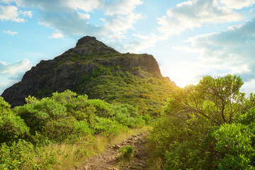 Le Morne Brabant mountain on the south of Mauritius island.