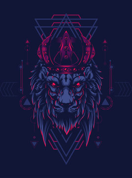 king of lion with dark crown and sacred geometry pattern as the background