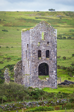 Ruins of the Engine House of the Wheal Jenkin mine, Cornwall's industrial heritage
