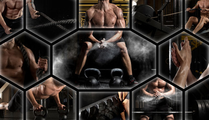 Crossfit collage. Man exercising at the gym