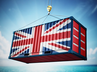 Cargo container with flag of Britain against blue sky. 3D illustration Fototapete