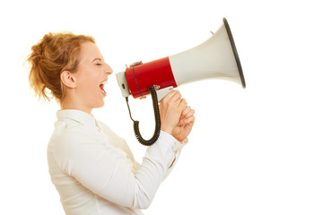 Woman screaming in megaphone to the motivation