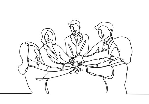 Continuous line drawing of Business people join hand together during their meeting