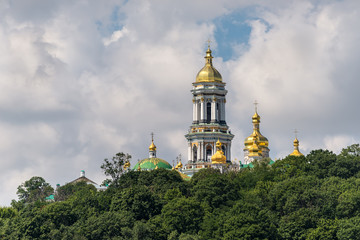 View of  Kyiv Pechersk Lavra monastery (Kiev Pechersk Lavra) and it's bell tower (Great Belfry). Historical and cultural reserve – UNESCO object in Ukraine