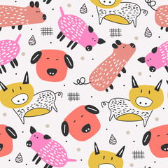 Cute pig drawing seamless pattern with scandinavian childish hand drawn unique character for kids and baby fashion apparel textile print vector illustration.