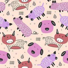 Funny pig drawing scandinavian style seamless pattern with feminine pastel colors vector illustration cute characters.