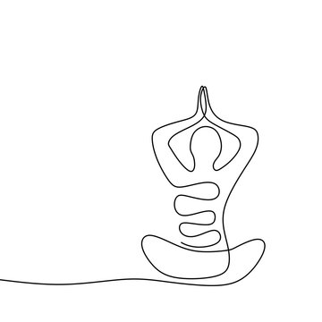 Yoga person continuous one line drawing ying and yang concept