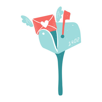 Blue mailbox. Envelope with wings and hearts, love postcard with letters. Valentine's day clip art. Mail delivery concept