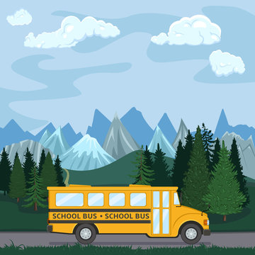Yellow School Bus is Going Countryside Road. Back to School Vector Flat Illustration.