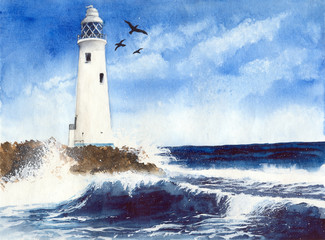Watercolor picture of a beautiful lighthouse on the rocky island with seagulls and blue waves