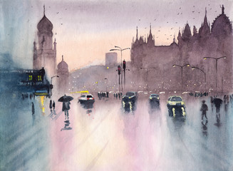 Watercolor picture of rainy cityscape of Mumbai with cars and pedestrians