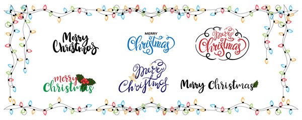 Hand drawn Merry Christmas with light bulbs frame on white background