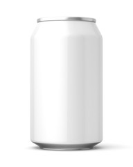 3d rendered glossy white 330ml can on a white background.