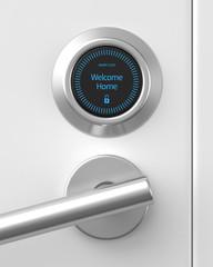 3d rendered unlocked smart lock on a white front door.