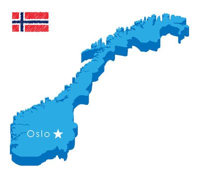 Blue isometric map of country norway with pointer of capital Oslo. Realistic 3d vector concept map easy to edit and customize. Vector illustration eps 10