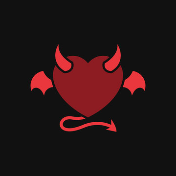 devil love with demon wing tattoo vector design. heart icon with horn and tail illustration. simple graphic for evil relationship concept design.