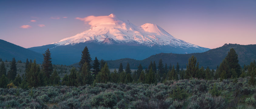 View of Mount Shasta Volcano with glaciers, in California, USA. Panorama from north. Mount Shasta is a potentially active volcano at the southern end of the Cascade Range in Siskiyou County