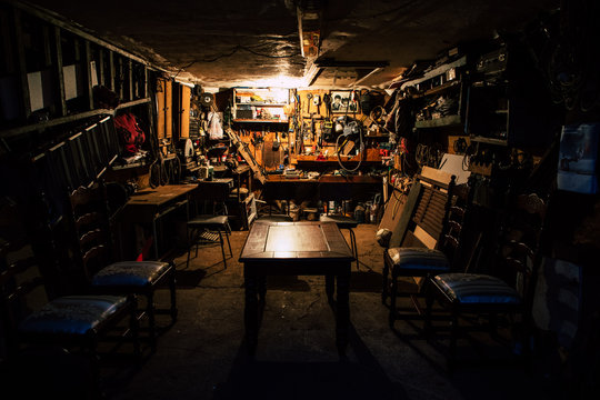 Rustic and retro garage full with tools