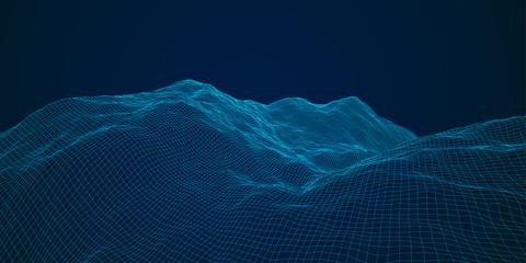 blue polygonal mesh terrain with editable path Fototapete