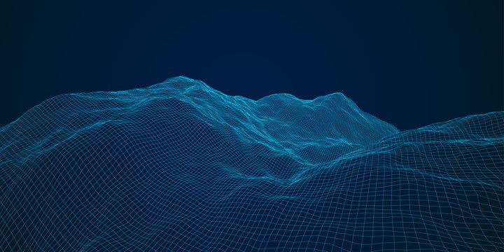 blue polygonal mesh terrain with editable path