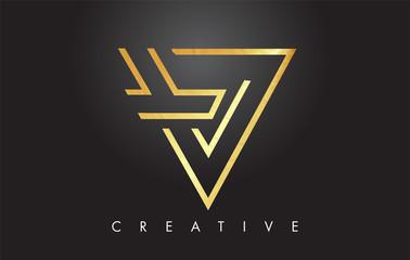 V Golden Letter Monogram Design Logo. Gold Letter V Icon Logo Vector.