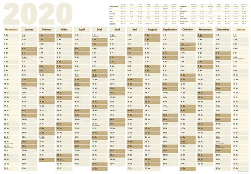 wall year planner or calendar for year 2020 with German holidays and school vacation dates for all German federal states