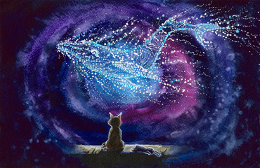 Watercolor picture of a cat and whale constellation