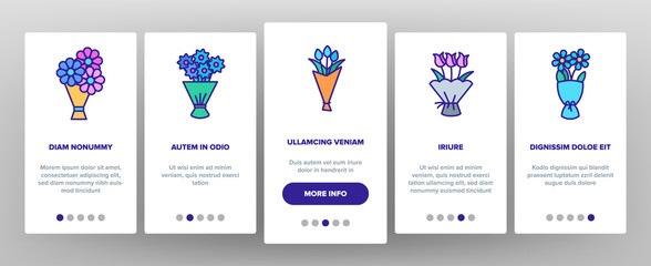 Bouquets, Bunches Of Flowers Vector Onboarding Mobile App Page Screen. International Womens Day, Birthday, Romantic Present. Natural, Traditional Gift For Girls, Women, Ladies. Roses Illustration