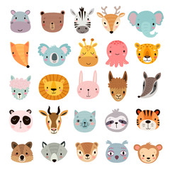 Fototapete - Big animal set. Cute faces. Hand drawn characters.