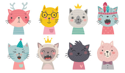 Wall Mural - Cute cats faces. Hand drawn characters.