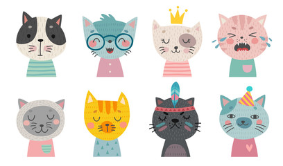 Cute cats faces. Hand drawn characters.