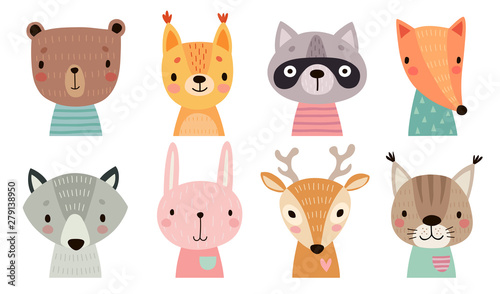 Fototapete Cute animal faces. Hand drawn characters.