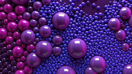 4k 3d animation of spheres and balls colorful rainbow in a organic motion background. Top view of bubbles colorful paint  Wall mural