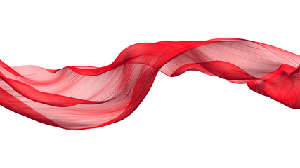 Fabric Flowing Cloth Wave, Red Waving Silk Flying Textile, 3d rendering