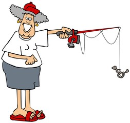 Woman holding a fishing pole with a worm on the hook