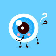 Cute eyeball with question mark character